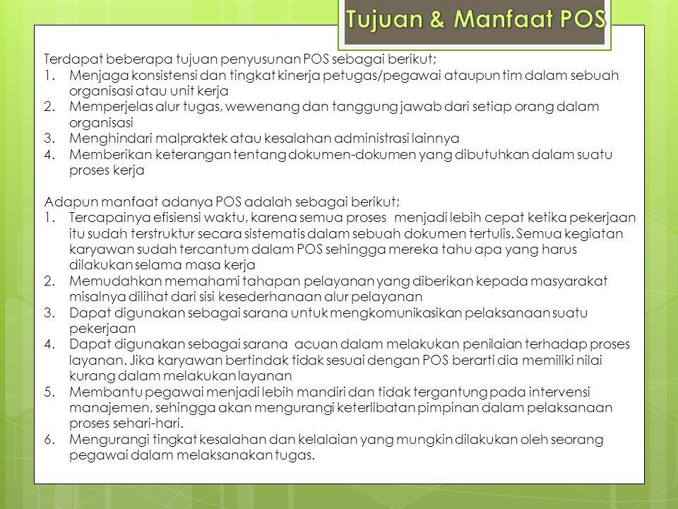 Tujuan & Manfaat POS Terdapat beberapa tujuan penyusunan POS sebagai berikut;