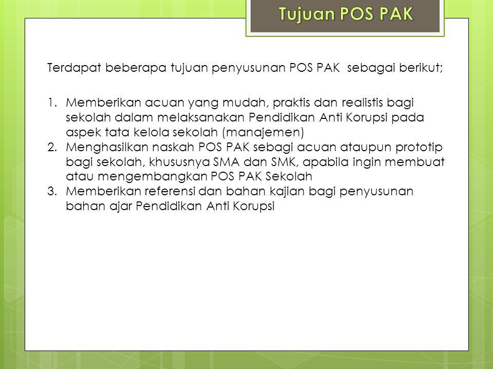 Tujuan POS PAK Terdapat beberapa tujuan penyusunan POS PAK sebagai berikut;