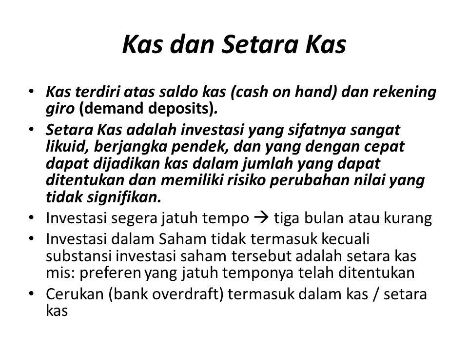 Kas dan Setara Kas Kas terdiri atas saldo kas (cash on hand) dan rekening giro (demand deposits).