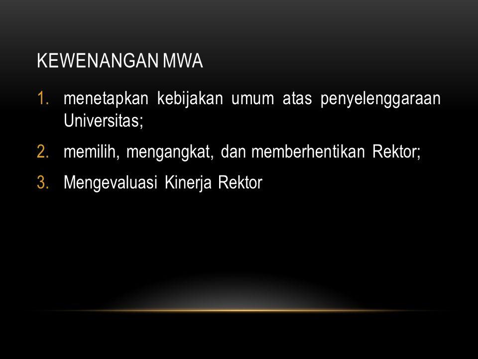 KEWENANGAN MWA menetapkan kebijakan umum atas penyelenggaraan Universitas; memilih, mengangkat, dan memberhentikan Rektor;