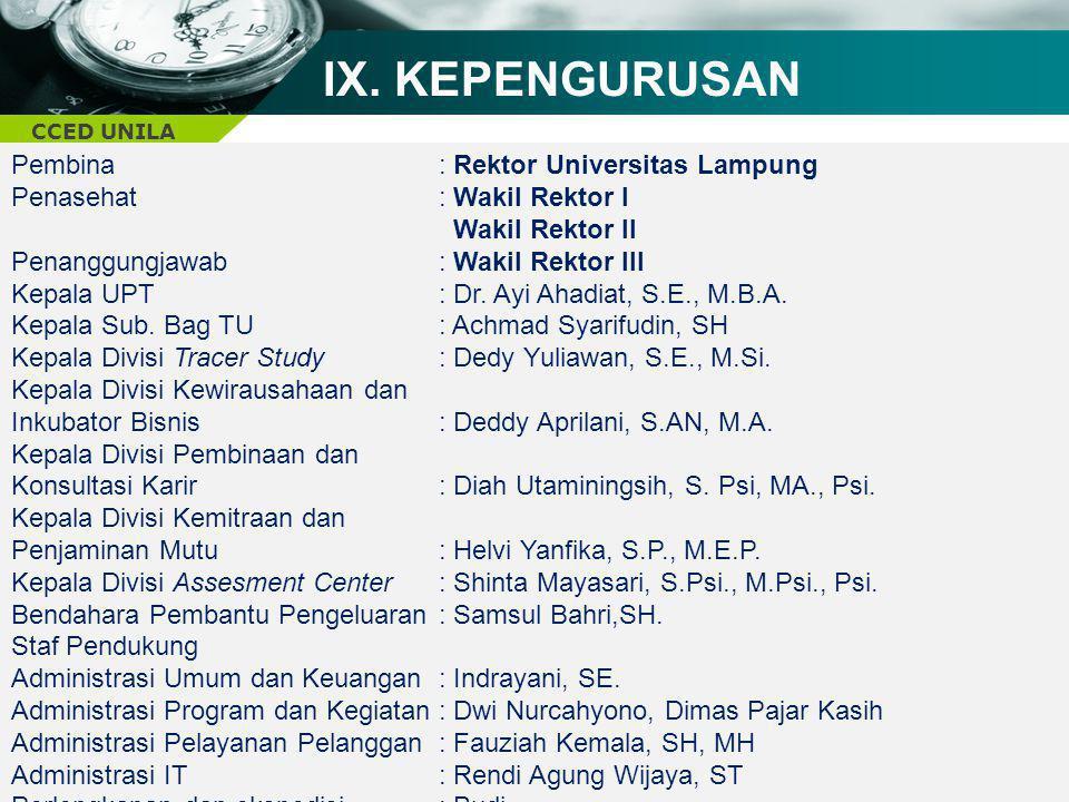 IX. KEPENGURUSAN Pembina : Rektor Universitas Lampung