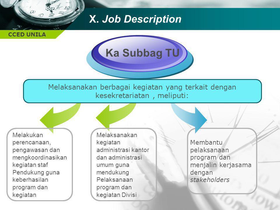 Ka Subbag TU X. Job Description
