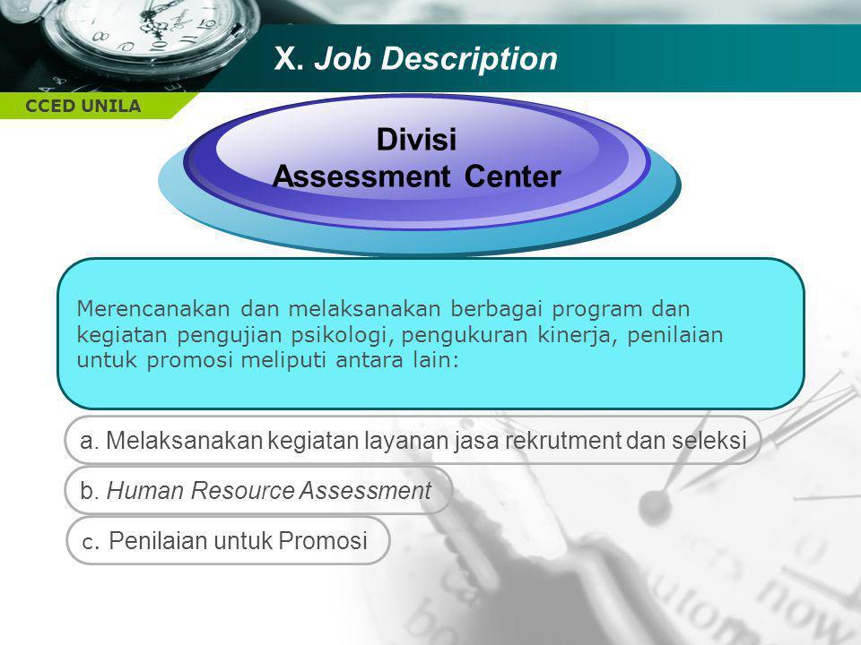 X. Job Description Divisi Assessment Center