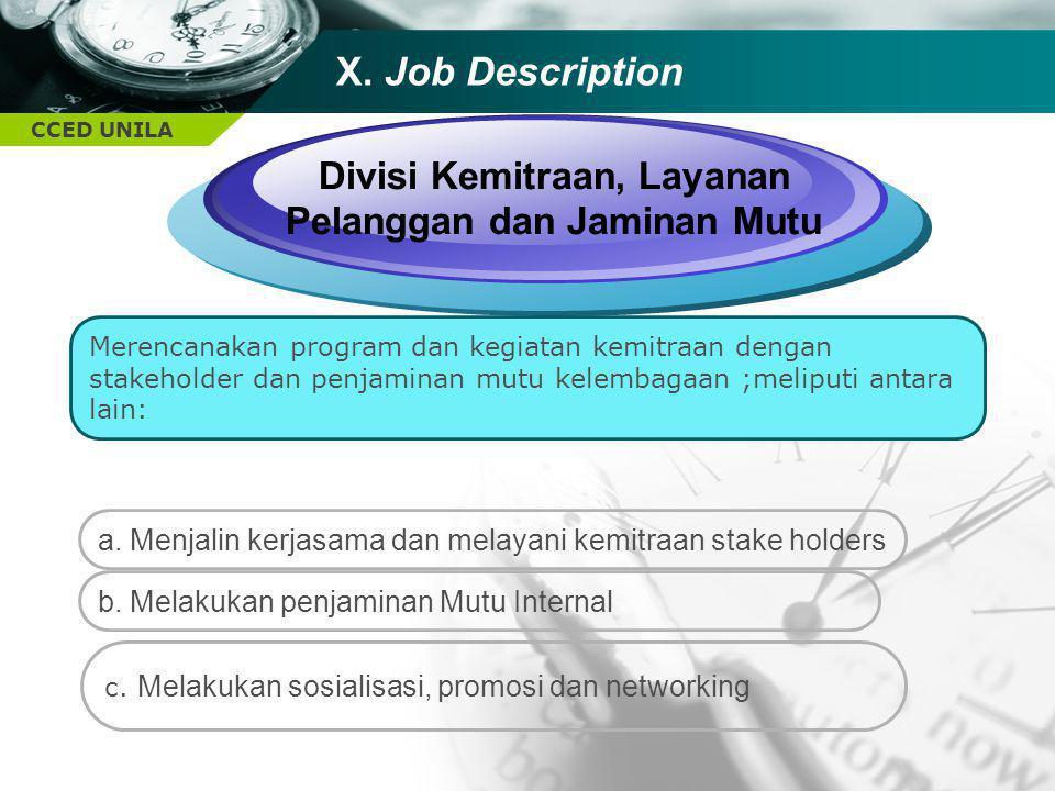 Divisi Kemitraan, Layanan Pelanggan dan Jaminan Mutu