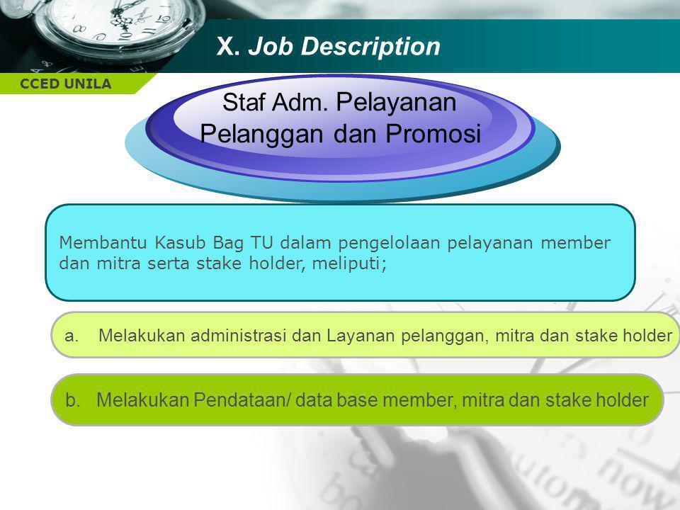 Staf Adm. Pelayanan Pelanggan dan Promosi