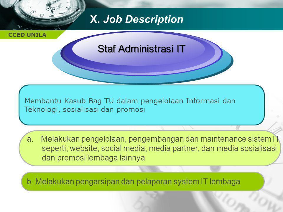 X. Job Description Staf Administrasi IT
