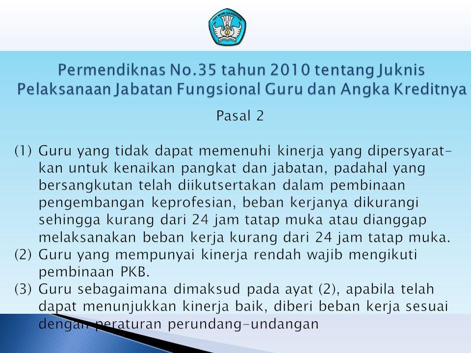 Permendiknas No.35 tahun 2010 tentang Juknis Pelaksanaan Jabatan Fungsional Guru dan Angka Kreditnya