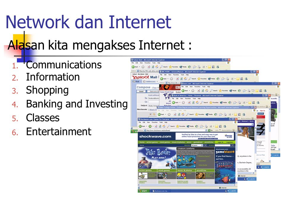 Network dan Internet Alasan kita mengakses Internet : Communications