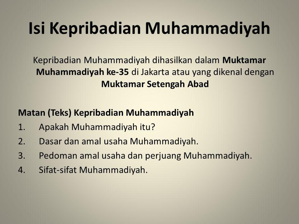 Isi Kepribadian Muhammadiyah