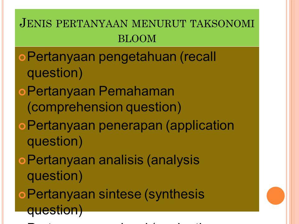 Jenis pertanyaan menurut taksonomi bloom