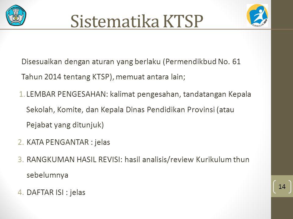 Sistematika KTSP Disesuaikan dengan aturan yang berlaku (Permendikbud No. 61 Tahun 2014 tentang KTSP), memuat antara lain;