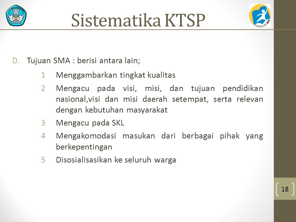 Sistematika KTSP Tujuan SMA : berisi antara lain;