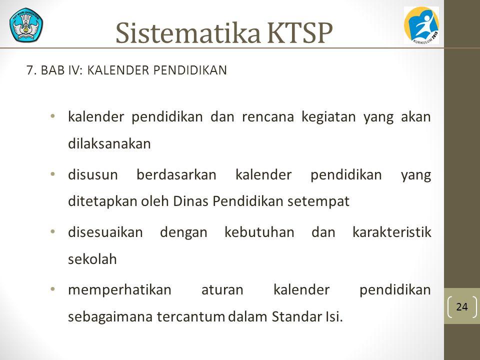 Sistematika KTSP 7. BAB IV: KALENDER PENDIDIKAN. kalender pendidikan dan rencana kegiatan yang akan dilaksanakan.