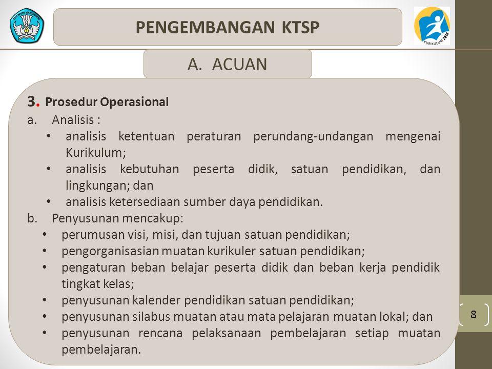 PENGEMBANGAN KTSP A. ACUAN 3. Prosedur Operasional Analisis :