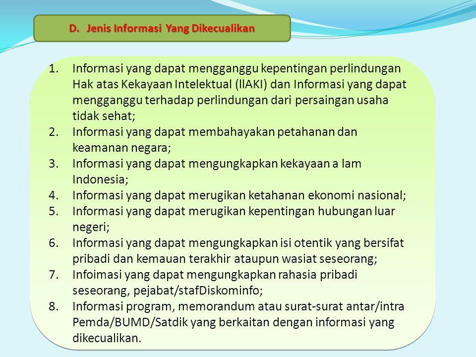 Jenis Informasi Yang Dikecualikan