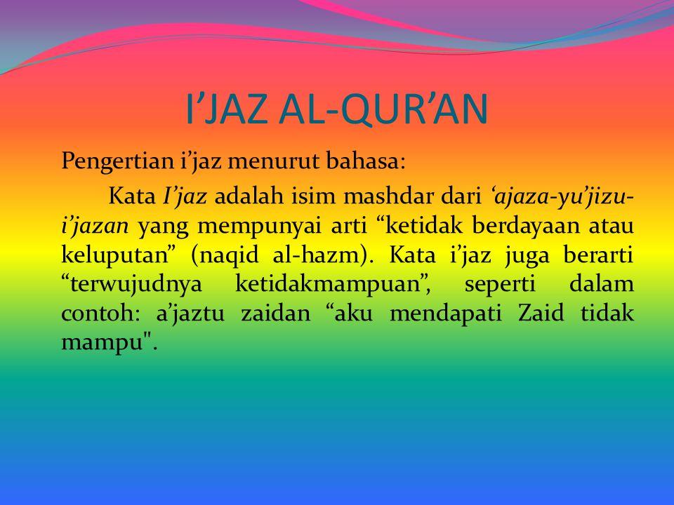 I'JAZ AL-QUR'AN Pengertian i'jaz menurut bahasa: