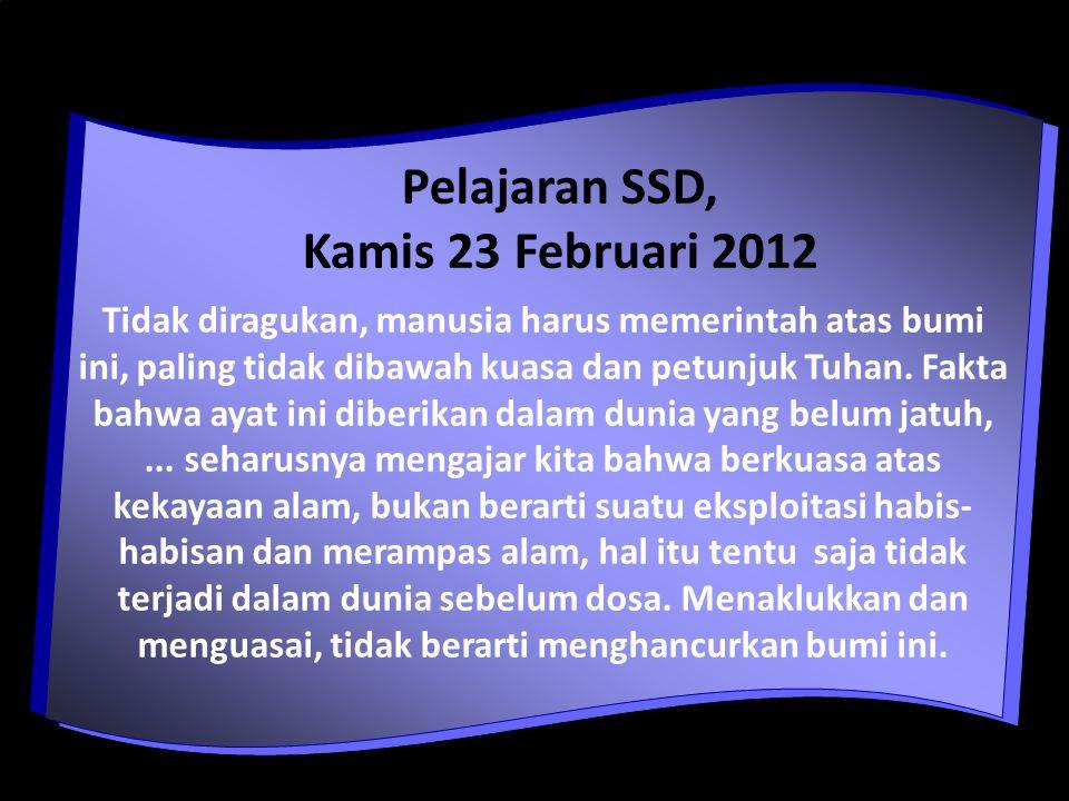 Pelajaran SSD, Kamis 23 Februari 2012