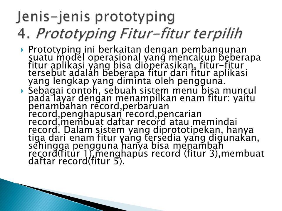 Jenis-jenis prototyping 4. Prototyping Fitur-fitur terpilih