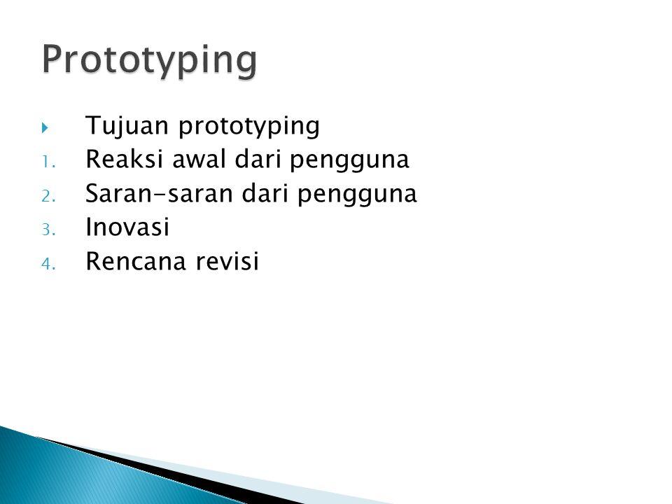 Prototyping Tujuan prototyping Reaksi awal dari pengguna