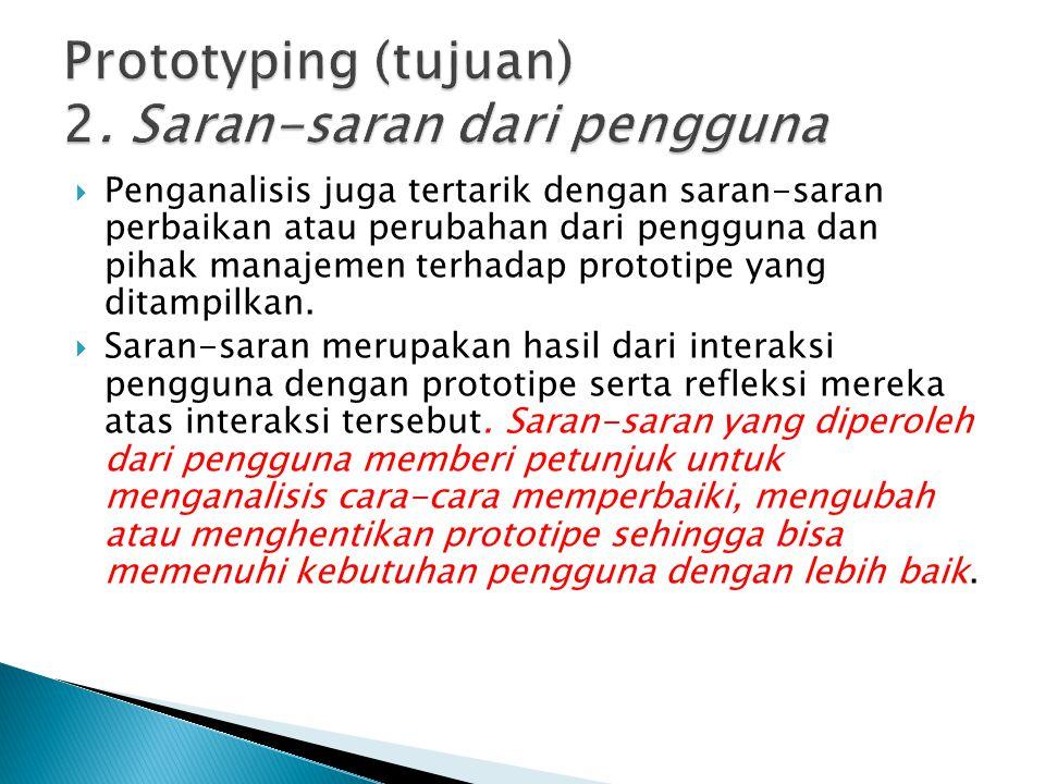 Prototyping (tujuan) 2. Saran-saran dari pengguna