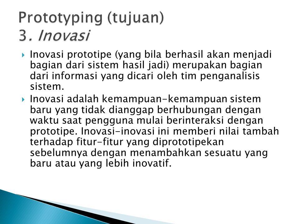Prototyping (tujuan) 3. Inovasi