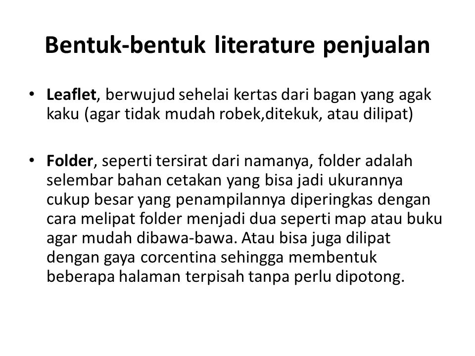 Bentuk-bentuk literature penjualan