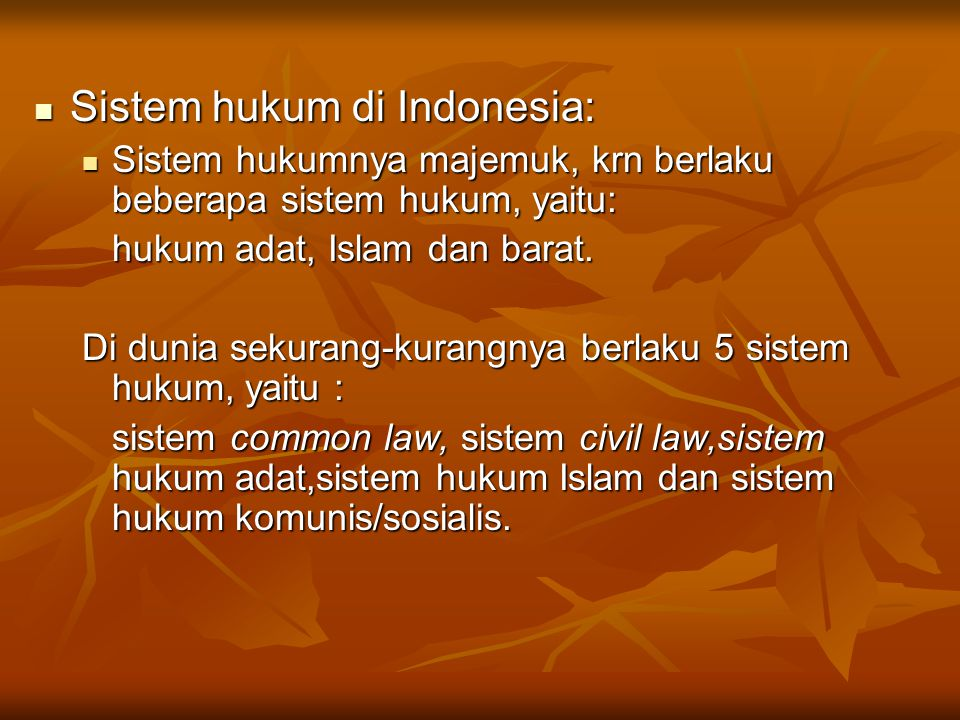Sistem hukum di Indonesia: