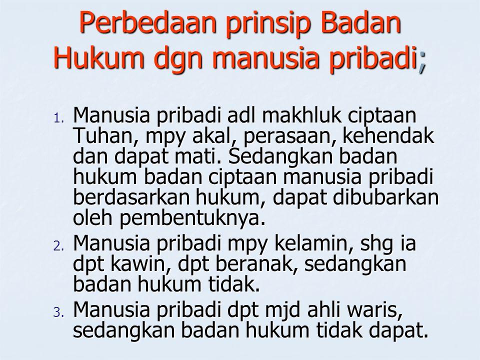 Perbedaan prinsip Badan Hukum dgn manusia pribadi;