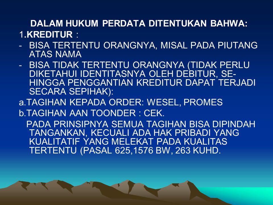 DALAM HUKUM PERDATA DITENTUKAN BAHWA:
