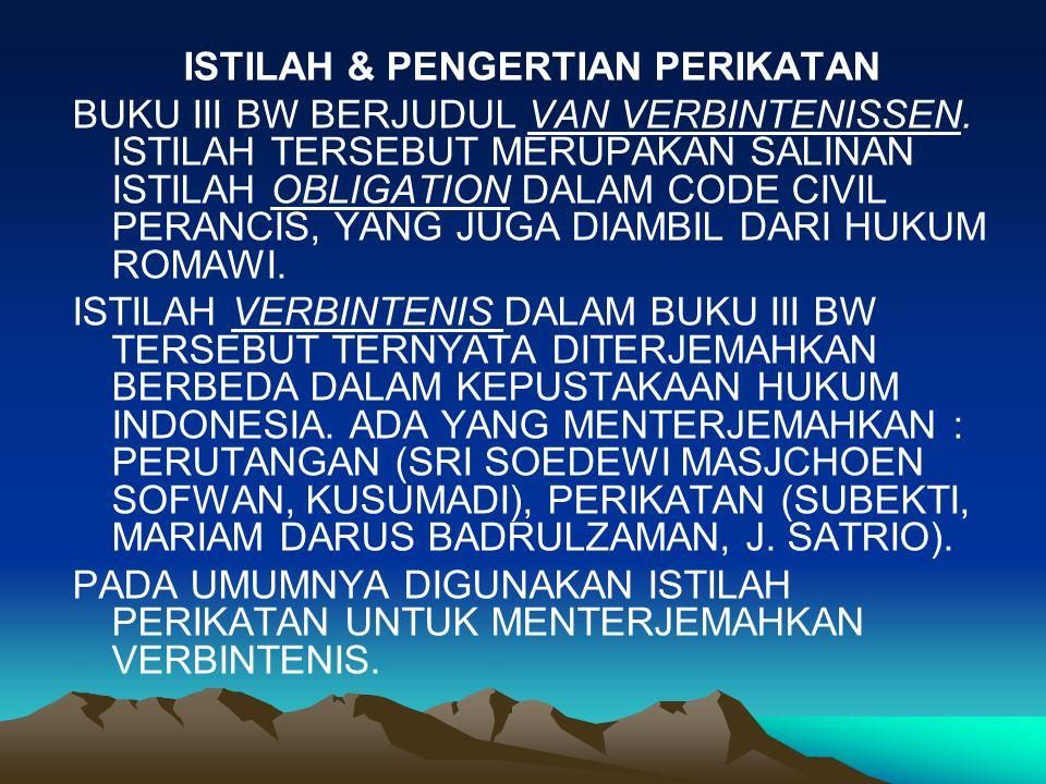 ISTILAH & PENGERTIAN PERIKATAN