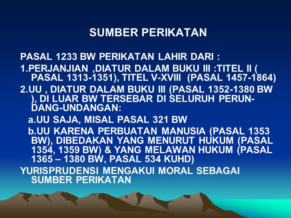 SUMBER PERIKATAN PASAL 1233 BW PERIKATAN LAHIR DARI :