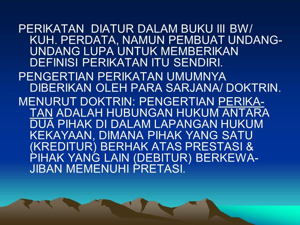 PERIKATAN DIATUR DALAM BUKU III BW/ KUH