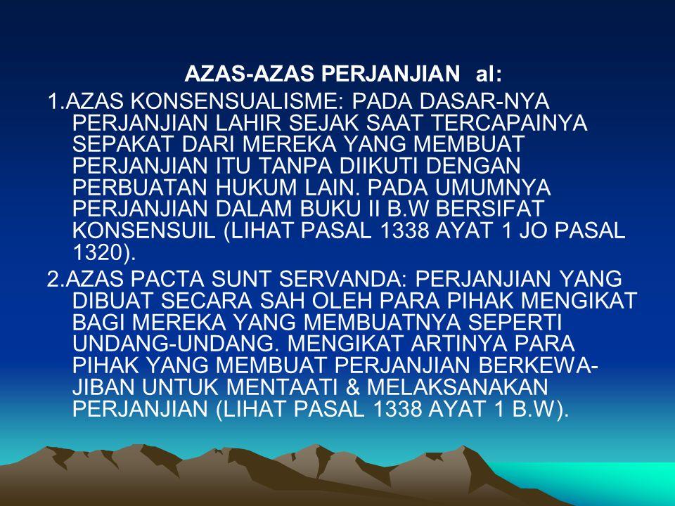 AZAS-AZAS PERJANJIAN al: