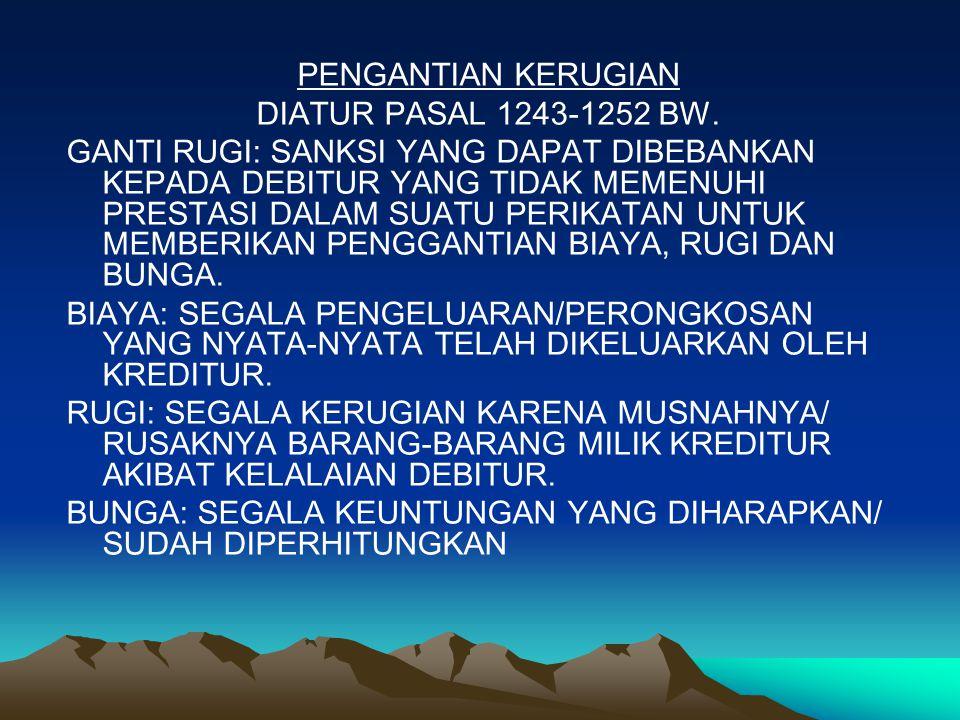 PENGANTIAN KERUGIAN DIATUR PASAL 1243-1252 BW.