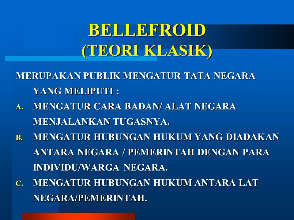 BELLEFROID (TEORI KLASIK)