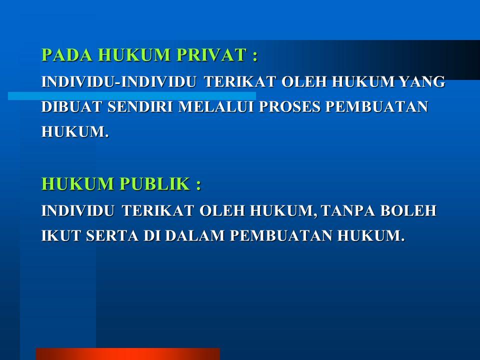 PADA HUKUM PRIVAT : HUKUM PUBLIK :