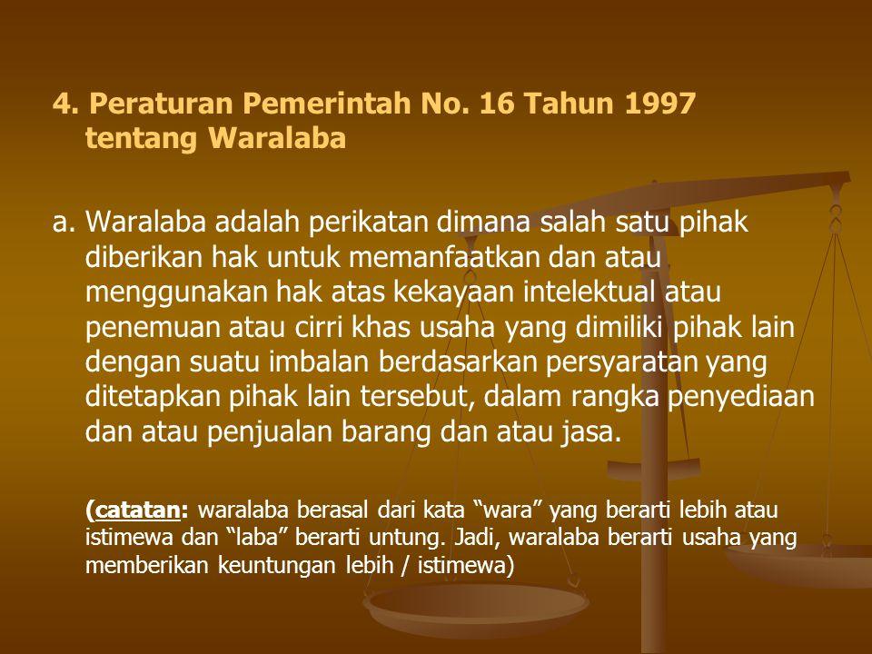 4. Peraturan Pemerintah No. 16 Tahun 1997 tentang Waralaba
