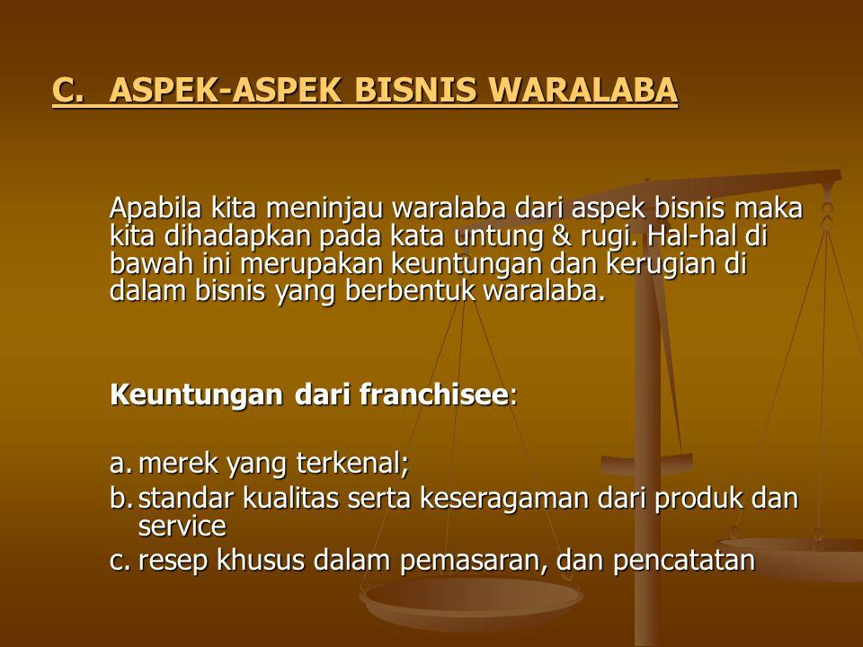 C. ASPEK-ASPEK BISNIS WARALABA