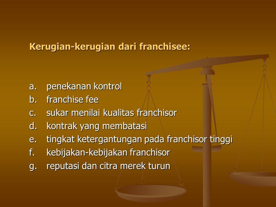 Kerugian-kerugian dari franchisee: