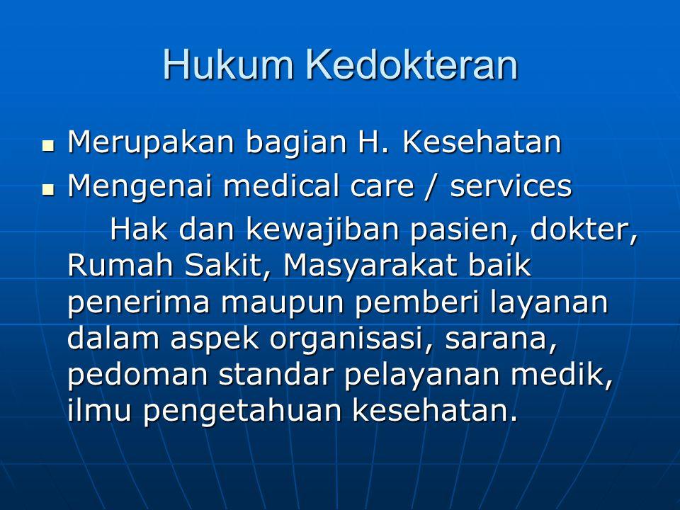 Hukum Kedokteran Merupakan bagian H. Kesehatan