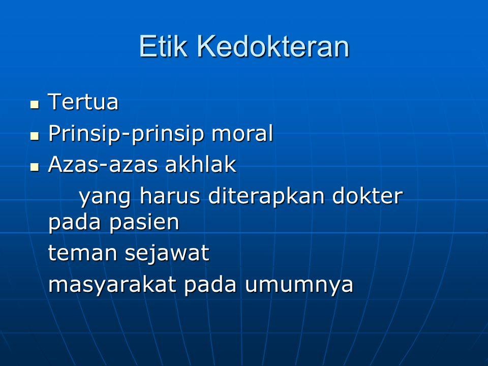 Etik Kedokteran Tertua Prinsip-prinsip moral Azas-azas akhlak