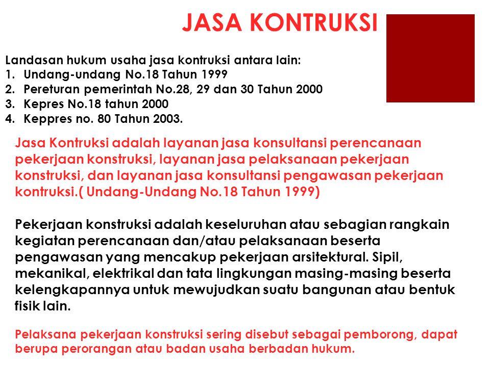 JASA KONTRUKSI Landasan hukum usaha jasa kontruksi antara lain: Undang-undang No.18 Tahun 1999. Pereturan pemerintah No.28, 29 dan 30 Tahun 2000.