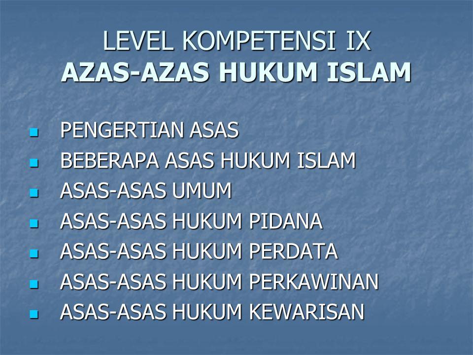 LEVEL KOMPETENSI IX AZAS-AZAS HUKUM ISLAM
