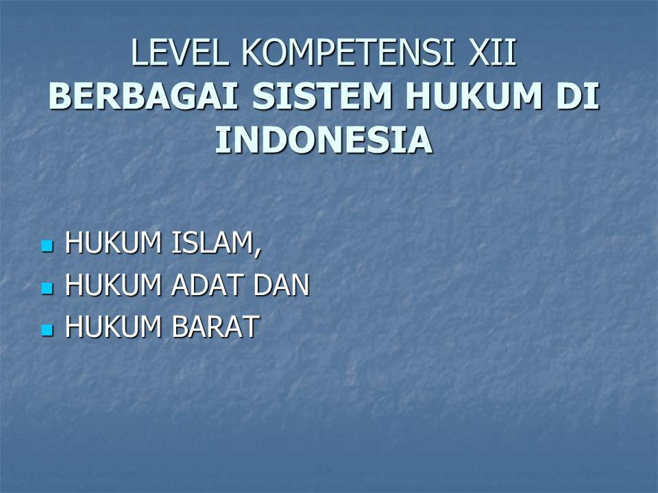 LEVEL KOMPETENSI XII BERBAGAI SISTEM HUKUM DI INDONESIA