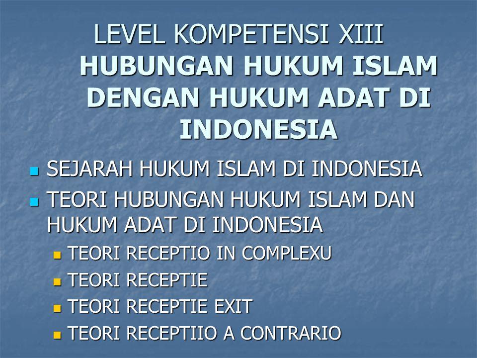 LEVEL KOMPETENSI XIII HUBUNGAN HUKUM ISLAM DENGAN HUKUM ADAT DI INDONESIA