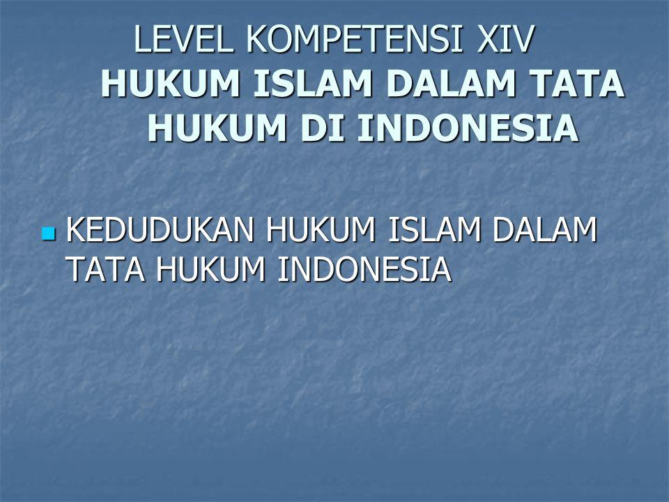 LEVEL KOMPETENSI XIV HUKUM ISLAM DALAM TATA HUKUM DI INDONESIA
