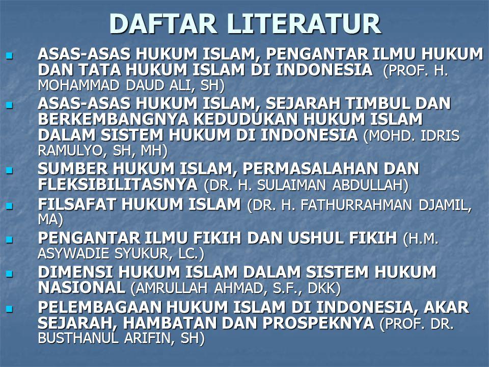 DAFTAR LITERATUR ASAS-ASAS HUKUM ISLAM, PENGANTAR ILMU HUKUM DAN TATA HUKUM ISLAM DI INDONESIA (PROF. H. MOHAMMAD DAUD ALI, SH)