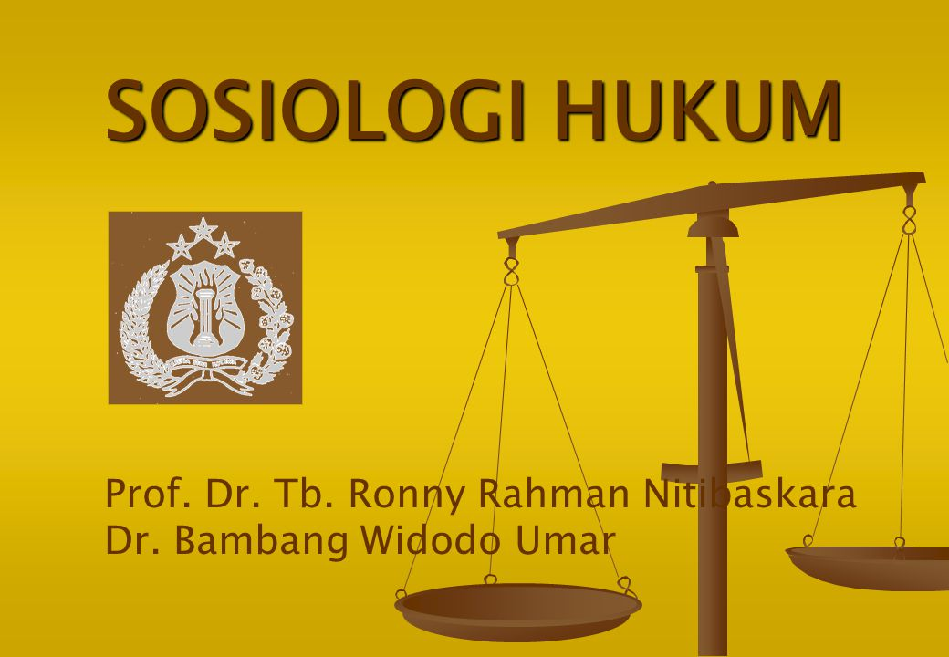SOSIOLOGI HUKUM Prof. Dr. Tb. Ronny Rahman Nitibaskara