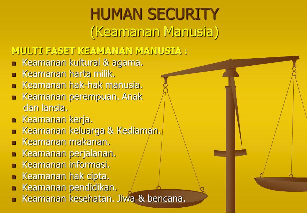 HUMAN SECURITY (Keamanan Manusia) MULTI FASET KEAMANAN MANUSIA :