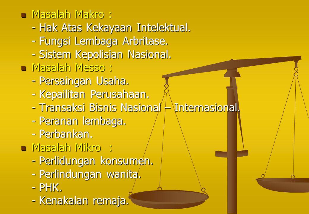 Masalah Makro : - Hak Atas Kekayaan Intelektual. - Fungsi Lembaga Arbritase. - Sistem Kepolisian Nasional.